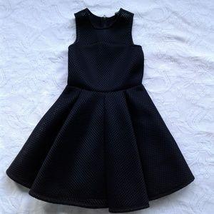 Miss Behave Dress Black Fit Flare Sleeveless Mesh